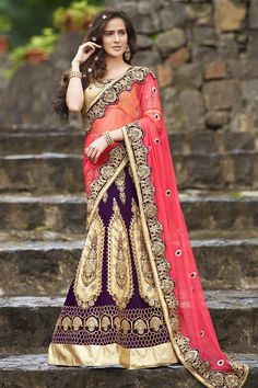 Pink and Wine Color Half Net and Half Velvet Saree.  #6YardsSarees #DesignerSarees