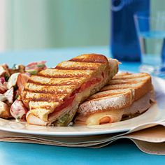 Turkey and Cheese Panini. We added avocados to ours. Very yummy, super easy and little clean up.
