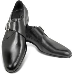 $325, Black Leather Monks: Moreschi Kobe Black Leather Monk Strap Shoes. Sold by Forzieri. Click for more info: https://lookastic.com/men/shop_items/299823/redirect