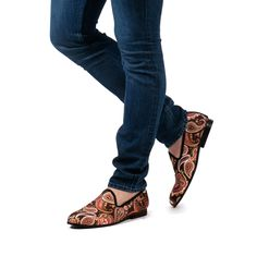 Take a bold step in the Milan Slipper in Brown Paisley! DARA Shoes. Velvet Slippers. Velvet Loafers. Slip on shoes