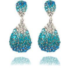 Lemonade Crystal Oval Shaped Earrings Blue - 4EverBling