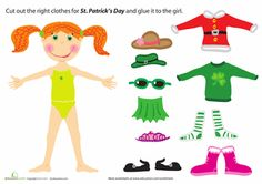 Worksheets: St. Patrick's Day Paper Doll Girl