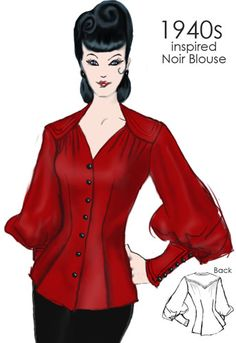 1940s inspired Nior Blouse by Amber Middaugh  #1940s #Vintage #Retro