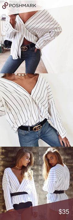 ❗️COMING SOON❗️ Stripped off the Shoulder Button ❗️COMING SOON❗️ Tops Button Down Shirts