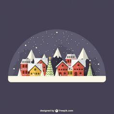 Снежный деревня внутри хрустального шара