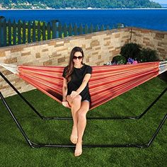 Toasted Almond Brazilian Hammock in a Bag in. W) *** Check out this great image : Hammock tent Hammock In A Bag, Hammock Tent, Hammocks, Brazilian Hammock, Camping And Hiking, Outdoor Furniture, Outdoor Decor, Almond, Patio