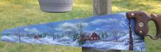 Hand painted hand saw. Old barn in winter painted on old hand saw. Winter snow barn scene......This saw is sold.