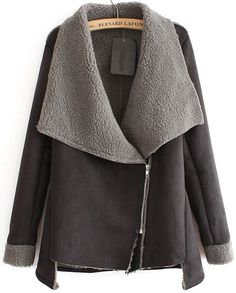 Grey Long Sleeve Oblique Zipper Coat - Sheinside.com// need to find a similar one (more uality pleaseee), love the grey colour