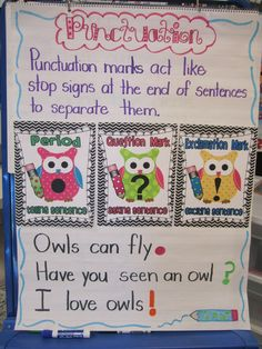 First Grade Glitter and Giggles: I'm back...Plus Owl Punctuation