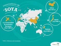 SabíasQué Los importadores más grandes de soya a nivel mundial son: 1) China (83 MM t) 2) La Comunidad Económica Europea (13,7 MM t) 3) Países Asiáticos como Taiwán (2,4 MM t) y Japón (2,9 MM t).   Más información en: http://www.croplifela.org/es/documentos/articulos-recomendados/biotecnologia-en-soya-es-esencial-para-la-produccion-de-carne-huevos-y-leche.html