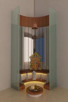 Modern Pooja Mandir, Design by Interior Designer: Kamlesh Maniya, Surat, India. Temple Design For Home, Home Temple, Temple Room, Indian Home Interior, Indian Home Decor, Indian Home Design, Room Interior, Mandir Design, Altar