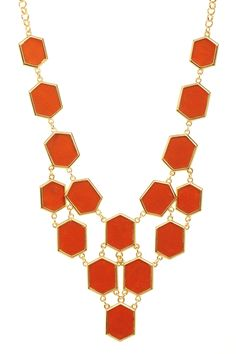Orange Leather Bib Drop Necklace