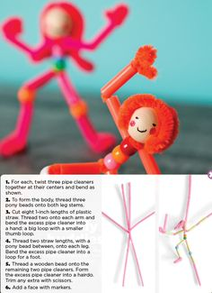 Pipe cleaner people – Holiday and camping ideas Straw Crafts, Craft Stick Crafts, Crafts To Make, Fun Crafts, Crafts For Kids, Pipe Cleaner Crafts, Pipe Cleaners, Dance Crafts, Diy Pipe