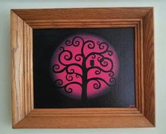 Owl In Tree Art Tree Of Life Painting Cool Gift Idea Unique Original Painting Owl Art Framed Wall Art Bright Pink Art Modern Whimsical Decor