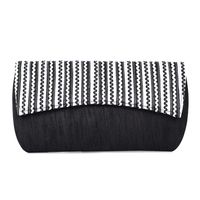 Black & White Arched Flapped Clutch
