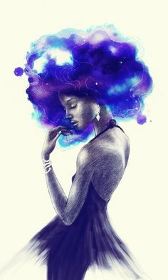 Beautiful black women are magic and their hair is gorgeous, what this beautiful black art represents is what we should have more of in the public eye to see. Black Girl Art, Black Women Art, Art Girl, Art Women, African American Art, African Art, Tribal African, Natural Hair Art, Natural Hair Styles