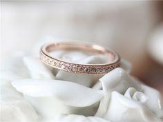 Full eternity Diamond Band with Milgrain Details/14K Rose Gold Diamond Band/Diamond Ring/Match band/Diamond Wedding Band Set/Wedding Ring by ByLaris on Etsy https://www.etsy.com/listing/261636014/full-eternity-diamond-band-with-milgrain