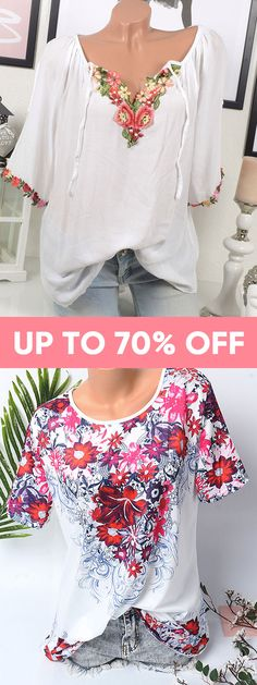 Up to 70% off. Plus size summer fashion outfits for women. Tops, dresses and pants. #outfits #summer #fashion