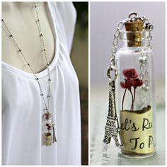 Personalized Necklace, Quote Jewelry, Message In A Bottle Necklace, Let's Run Away to Paris Necklace, Mini Terrarium, Glass Bottle Necklace on Etsy, $27.55 AUD