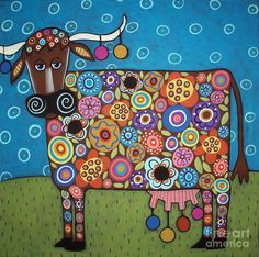 Purchase framed prints from Karla Gerard. All Karla Gerard framed prints are ready to ship within 3 - 4 business days and include a money-back guarantee. Art Fantaisiste, Karla Gerard, Frida Art, Art Populaire, Cow Painting, Cow Art, Canvas Prints, Art Prints, Framed Prints