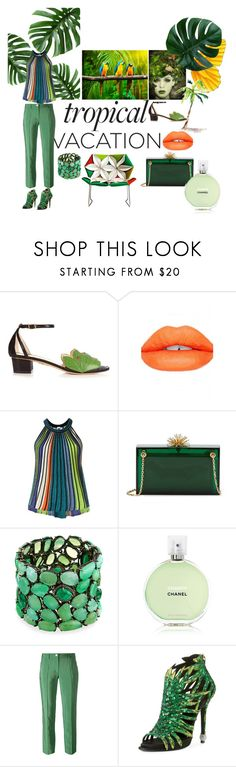 """Tropical vacation"" by lizzylima ❤ liked on Polyvore featuring Charlotte Olympia, Sugarpill, M Missoni, Bavna, Chanel, Versace, Roger Vivier, MOROSO, tropical and vacation"