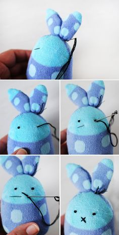 TUTORIAL :: Make the cutest Easter bunny softies from socks – We Are Scout - Stofftiere Diy Sock Toys, Sock Crafts, Bunny Crafts, Softies, Easy Easter Crafts, Easy Crafts, Sock Bunny, Bunny Rabbit, Cute Easter Bunny