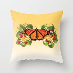 Monarch Butterfly with Strawberries Throw Pillow  by #PatriciaSheaDesigns on #Society6 FREE worldwide shipping until March 9th 2014