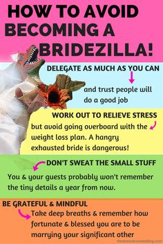Feeling the wedding stress? here are tips on to keep your cool and avoid becoming a bridezilla. Delegate, work out, put it into perspective and be grateful.