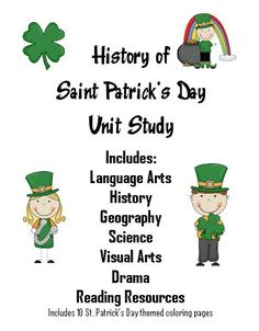 History of St Patrick's Day Unit Study with FREE Printables and Worksheets (PreK - 5)
