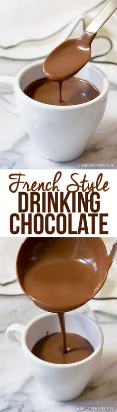 Luxurious French Hot Chocolate Recipe (Drinking Chocolate) Replace sugar with xylitol French Hot Chocolate Recipe, Hot Chocolate Recipes, Chocolate Chocolate, Chocolate Crinkles, Chocolate Drizzle, Chocolate Smoothies, Chocolate Mouse, Chocolate Shakeology, Chocolate Lovers