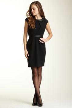 Cynthia Steffe Pleated Faux Leather Trim Dress - ANOTHER PERFECT LBD!