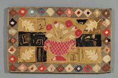 Wool and Cotton Hooked Rug with Urn of Flowers Motif, America, late 19th century, 30 1/4 x 48 1/2 in., Skinner Auctioneers and Appraisers, Live Auctioneers