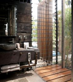#Rustic #bathroom #design with #weathered + #reclaimed #woods, #stone #basin, & lots of #natural #sun #light.