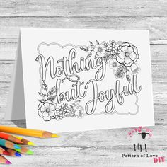 Nothing But Joyful Coloring Printable Note Cards | Etsy Jw Gifts, Joyful, Note Cards, Card Stock, Coloring, Bullet Journal, Printables, Notes, Lettering