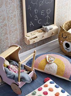 Bloomingville Wooden Chalkboard with Drawers - The Modern Nursery Hanging Chalkboard, Wooden Swings, Relax, Nordic Design, Wooden Walls, Ikea, Play Houses, Room Inspiration, Kids Bedroom