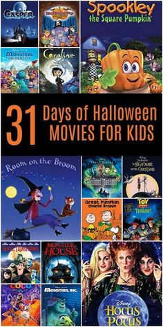 31 Days of Halloween Movies for Kids. The ultimate list of Halloween Movies for family fun this October. Print about your movie list, grab your popcorn and get ready for spooktacular fun this fall. -->> Movie 31 Days of the Best Halloween Movies for Kids Halloween Desserts, Halloween Movies List, Couples Halloween, Halloween Movie Night, Fairy Halloween Costumes, 31 Days Of Halloween, Halloween Activities, Family Halloween, Holidays Halloween
