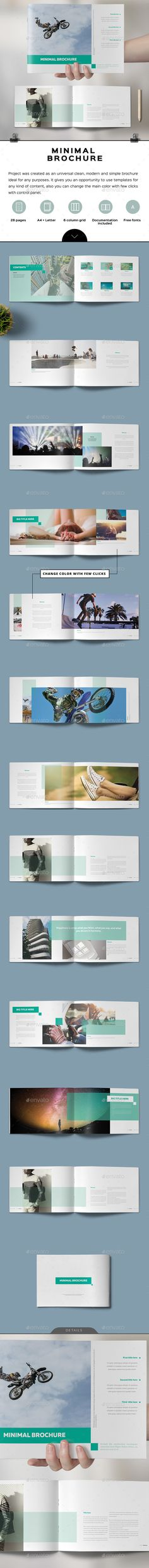 Minimal Simple Brochure  — InDesign Template • Only available here ➝…