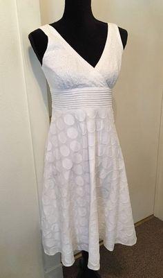 Dressbarn  SZ 4 Sun Dress White Eyelet Textured Fit & Flair V Neck Empire Waist #dressbarn #EmpireWaist