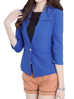 Appealing One Button Vogue Three Quarter Sleeve Pure Color Slim Blazers For Lady on buytrends.com