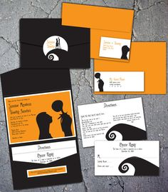 Nightmare Before Christmas Inspired Wedding Invitation via Etsy in black and orange.