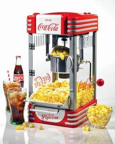 COCA-COLA CLASSIC KETTLE POPCORN MAKER RETRO POPPER MACHINE GAME ROOM BAR MOVIES