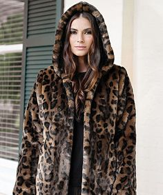 Leopard Couture Faux Fur Hooded Jacket