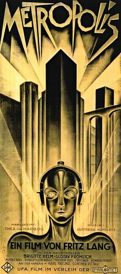 Art Deco poster for Metropolis - 1927 German expressionist epic science-fiction film directed by Fritz Lang. Posters Vintage, Retro Poster, Art Deco Posters, Film Posters, Vintage Movies, Art Deco Artwork, French Posters, Graphic Posters, Poster Prints
