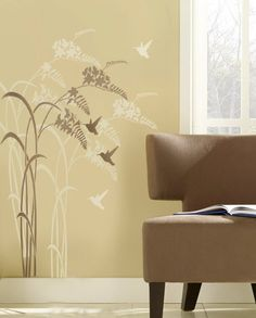 Hummingbird stencil Happy Hour - Reusable stencils for walls better than Decals via Etsy