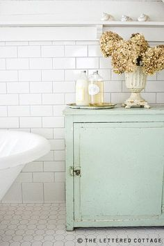 Color combination is so calming, perfect for a bathroom!