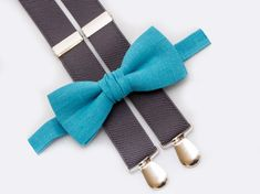 Turquoise Bow Tie ang Gray Suspenders Wedding Boys Outfit Man Bowtie Christmas Outfit