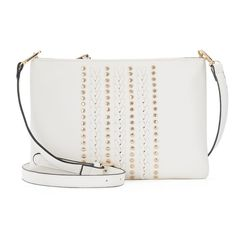 Kiss Me Couture Stitched & Studded Crossbody Bag, White