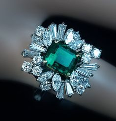 THIS WEBSITE IS AMAZING! Vintage Asymmetrical Design Emerald Diamond Engagement Ring - Antique Jewelry | Vintage Rings | Faberge Eggs