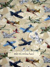 Benartex Kanvas Studio Man Cave II Fighter Airplane War Plane Cotton Fabric YARD