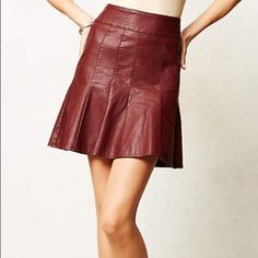 Anthropologie skater skirt Perfect color for fall! This burgundy vegan leather skater skirt by HD in Paris will compliment a wide variety of tops and jackets. Worn only once, but sadly it no longer fits! Excellent condition, like new. Anthropologie Skirts Circle & Skater
